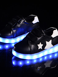 cheap -Boys' Sneakers Light Up Shoes Comfort Novelty Fall Winter PU Casual Outdoor Magic Tape Flat Heel Black White Flat