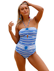 cheap -Women's Floral Print One-piece Swimwear Blue
