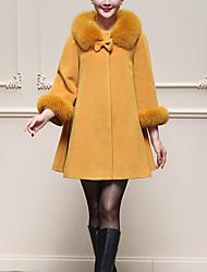 Для женщин На каждый день Большие размеры Зима Пальто Воротник Питер Пен,Простой Уличный стиль Однотонный Обычная Длинный рукав,Шерсть,