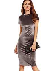 preiswerte -Damen Hülle Kleid-Festtage Ausgehen Lässig/Alltäglich Klub Retro Street Schick Solide Ständer Midi Kurzarm Polyester Sommer Herbst Hohe