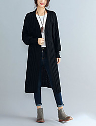 cheap -Women's Plus Size Chinoiserie Long Sleeves Long Cardigan - Solid Colored Deep V