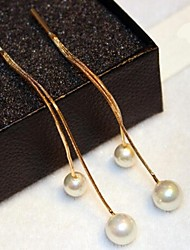 cheap -Women's Hoop Earrings Classic Fashion Pearl Gold Plated Jewelry Wedding Office & Career