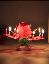 cheap -1Pcs Lotus Flower Candle Birthday Party Cake Music Sparkle Cake Topper Rotating Candles Decoration