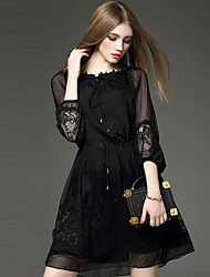cheap -Women's Daily Going out Casual Street chic Sophisticated A Line Sheath Little Black Above Knee Dress,Solid Embroidered Lace Round Neck