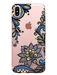 Per iPhone X iPhone 8 Custodie cover Transparente Fantasia/disegno Custodia posteriore Custodia La stampa in pizzo Morbido TPU per Apple