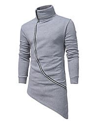 preiswerte -Herren Pullover Übergrössen Lässig/Alltäglich Einfach Solide Rollkragen Gürtel nicht inklusive Mikro-elastisch Baumwolle Langärmelige
