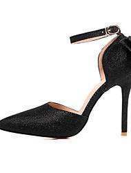 baratos -Mulheres Sapatos Gliter Primavera / Verão / Outono Saltos Salto Agulha Dedo Apontado Laço / Lantejoulas Dourado / Preto / Prata / Casamento / Festas & Noite