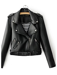 cheap -Women's Daily Going out Simple Casual Street chic Spring Fall Leather Jacket,Solid Notch Lapel Long Sleeve Regular Others