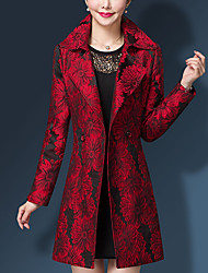 Women's Plus Size Work Simple Fall Winter Trench Coat,Print Shirt Collar Long Sleeve Regular Nylon