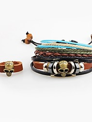 preiswerte -Herrn Leder Totenkopf Ring-Armbänder Lederarmbänder - Personalisiert Hip-Hop Braun Armbänder Für Ausgehen Strasse