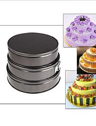 baratos -Panelas de assadeira de 3 peças / set redondas para molde de bolo de liga de metal com bolo, ferramenta de cozedura