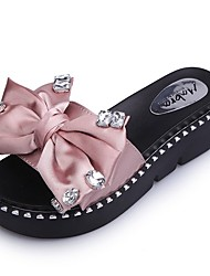 Women's Shoes PU Summer Comfort Slippers & Flip-Flops Flat Heel Open Toe Crystal Bowknot For Casual Blushing Pink Green Black
