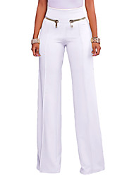 cheap -Women's High Rise Stretchy Wide Leg Pants, Casual Solid Polyester Spandex Fall