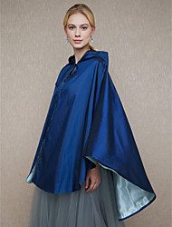 Taffeta Wedding Party / Evening Women's Wrap With Cap Lace-up Capes