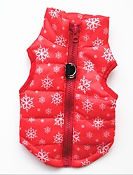 Cat Dog Vest Dog Clothes Casual/Daily Keep Warm Christmas Snowflake Black Red Costume For Pets