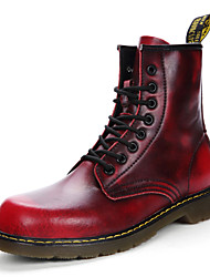 cheap -Women's Shoes Real Leather PU Patent Leather Fall Winter Snow Boots Fashion Boots Combat Boots Boots Flat Heel Round Toe Booties/Ankle