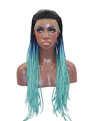 cheap -Women Synthetic Wig Lace Front Long Straight Blue African American Wig Braided Wig African Braids Ombre Hair Party Wig Halloween Wig