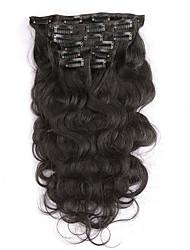 Недорогие -тело волна non-remy 100% человеческий волос # 0 цвет натуральный черный зажим в наращивании волос 16 18 20 22 дюйма 100g клипы в