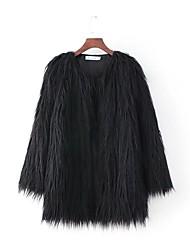 Cappotto di pelliccia Da donna Sport Per uscire Casual Semplice Moda città Autunno Inverno,Tinta unita Rotonda Pelliccia sintetica