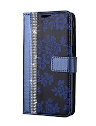 Case For Samsung Galaxy Note 8 Wallet Card Holder Rhinestone with Stand Flip Full Body Flower Hard PU Leather for Note 8