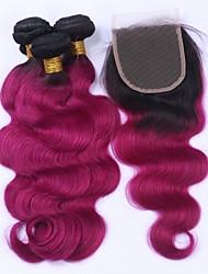 cheap -Malaysian Hair Body Wave Hair Weft with Closure Human Hair Weaves Black / Dark Wine Human Hair Extensions
