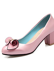cheap -Women's Shoes Patent Leather Spring Fall Comfort Heels Chunky Heel Round Toe Bowknot For Outdoor Office & Career Blushing Pink Blue Black