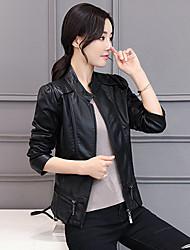 Feminino Jaquetas de Couro Casual Trabalho Simples Outono Inverno,Sólido Curto Poliuretano Colarinho Chinês Manga Longa