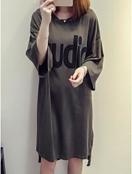 Tee Shirt Robe Femme Décontracté / Quotidien Lettre Col Arrondi Asymétrique Demi Manches Autres Eté Taille Normale Micro-élastique Moyen