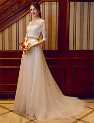 cheap -Two Piece Illusion Neckline Court Train Corded Lace Tulle Over Lace Custom Wedding Dresses with Sashes / Ribbons by LAN TING BRIDE®