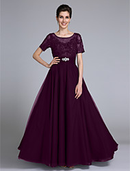 cheap -Sheath / Column Scoop Neck Floor Length Chiffon Lace Mother of the Bride Dress with Beading Appliques Crystal Detailing by LAN TING BRIDE®