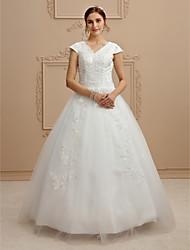 economico -Da ballo A V Lungo Di pizzo Tulle Vestito da sposa con Perline Con applique di LAN TING BRIDE®