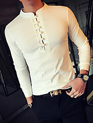 Men's Plus Size Casual/Daily Simple Chinoiserie Spring Fall T-shirt,Solid Stand Long Sleeves Cotton Medium