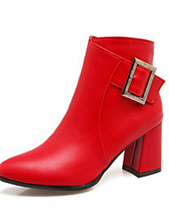 cheap -Women's Shoes PU Winter Fall Fashion Boots Bootie Comfort Novelty Boots Chunky Heel Pointed Toe Booties/Ankle Boots Buckle Zipper for