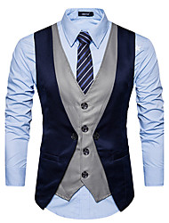 cheap -Men's Daily Simple Casual Winter Fall Vest,Color Block V Neck Sleeveless Regular Cotton