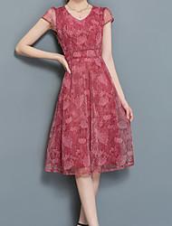 cheap -Women's Daily Sheath Dress,Print V Neck Knee-length Short Sleeves Polyester Summer Mid Rise Micro-elastic Medium