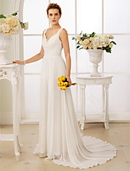 A-Line Princess Straps Court Train Chiffon Lace Wedding Dress with Appliques Buttons Sash / Ribbon by LAN TING BRIDE®