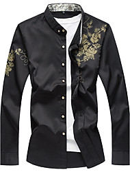Men's Daily Plus Size Chinoiserie Fall Shirt,Floral Print Shirt Collar Long Sleeves Cotton Spandex Medium