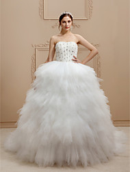 cheap -Princess Strapless Cathedral Train Tulle Stretch Satin Custom Wedding Dresses with Beading Tiered by LAN TING BRIDE®