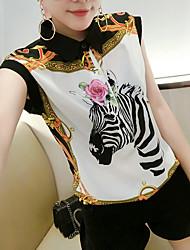 cheap -Women's Going out Boho Summer Blouse,Print Shirt Collar Short Sleeves Polyester Medium