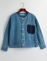 baratos -Mulheres Jaqueta jeans Simples - Estampa Colorida