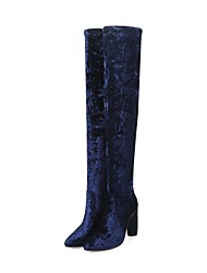 Women's Shoes Velvet Fall Winter Fashion Boots Boots Chunky Heel Pointed Toe Thigh-high Boots For Casual Party & Evening Black Beige Blue