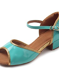 cheap -Latin Shoes TPU / Patent Leather / Leatherette Sandal / Heel Buckle Chunky Heel Customizable Dance Shoes Green / Practice