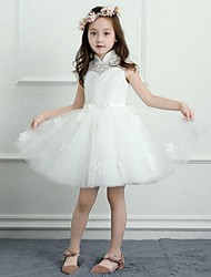 cheap -A-Line Short / Mini Flower Girl Dress - Satin Tulle Sleeveless High Neck with Bow(s) Lace by LAN TING BRIDE®