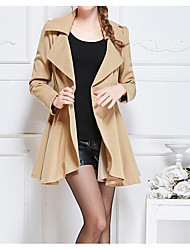 cheap -Women's Daily Going out Street chic Winter Fall Trench Coat,Solid Peaked Lapel Regular Polyester