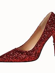 Femme Chaussures Similicuir Printemps Automne Confort Chaussures à Talons Talon Aiguille Bout pointu Pour Habillé Argent Arc-en-ciel