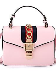 cheap -Women's Bags PU Tote Zipper / Tiered White / Black / Blushing Pink