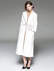 Недорогие -Для женщин На выход На каждый день Зима Тренч V-образный вырез,Шинуазери (китайский стиль) Цветочный принт Длинная Длинные рукава,Шерсть