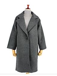 Cappotto Da donna Casual Moda città Inverno,Tinta unita Colletto alla Peter Pan Cotone Lungo Manica lunga