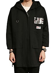 Men's Daily Plus Size Simple Casual Winter Fall Jacket,Letter Hooded Long Sleeve Long Cotton Polyester