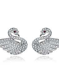 cheap -Women's Stud Earrings Crystal Cubic Zirconia Fashion Hypoallergenic Sterling Silver Zircon Swan Jewelry For Wedding Party